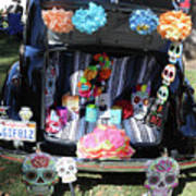 Classic Car Day Of Dead Decor Trunk Poster