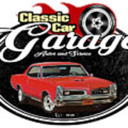 Classic Car Garage With Gto Poster