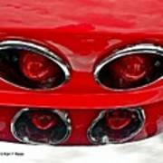 Classic Car Tail Lights Reflection Poster