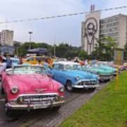 Classic Cars In Revolutionary Square Cuba Poster