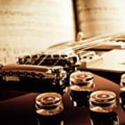 Classic Guitar Still Life With Notes Poster