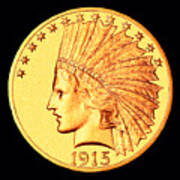 Classic Indian Head Gold Poster