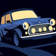 Classic Mini Cooper In Blue Poster