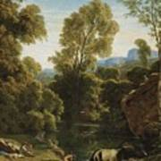 Classical Landscape With Figures By A Lake Poster