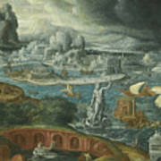 Classical Landscape With Ships Running Before A Storm Towards A Classical Harbour Probably Corinth Poster