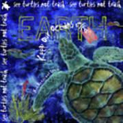 Clean Oceans Sea Turtle Art Poster