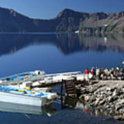 Cleetwood Cove Tour Boat Visitors, Crater Lake National Park, Oregon Poster