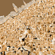 Cleveland Map Sepia Poster