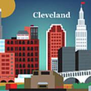 Cleveland Ohio Horizontal Skyline Poster