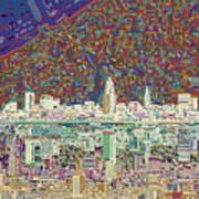 Cleveland Skyline Abstract 8 Poster