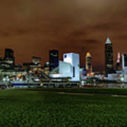 Cleveland Skyline At Night Poster