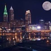 Cleveland With Full Moon Poster