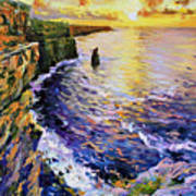 Cliffs Of Moher At Sunset Poster by Conor McGuire