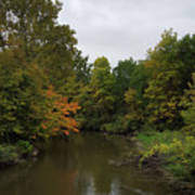 Clinton River In Autumn Cloudy Day Poster