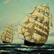 Clipper Ships Racing To Port Poster