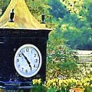 Clock Tower In The Garden Poster