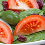 Close Up Of Fresh Spinach Salad On White Plate  Poster