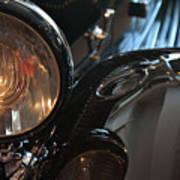 Close Up On Black Shining Car Round Light Poster