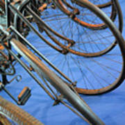 Close Up On Many Wheels From Bicycles  Poster