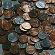 Close View Of United States Coins Poster