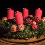 Closeup Of An Advent Wreath, Unlit Candles Poster