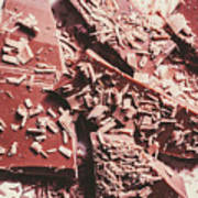 Closeup Of Chocolate Pieces And Shavings On Plate Poster