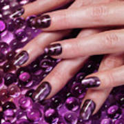Closeup Of Woman Hands With Purple Nail Polish Poster