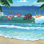 Clothesline At The Beach Poster
