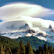 Cloud Capped Mount Hood Poster