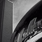 Cloud Gate And Aon Center Black And White Poster