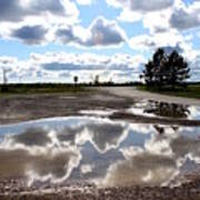 Cloud Reflection In Puddle Poster