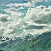 Clouds Alaska Mtns  Poster