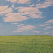 Clouds Over Green Field Poster
