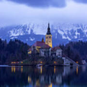 Clouds Over Lake Bled Poster