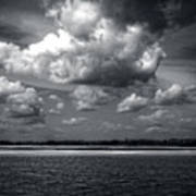 Clouds Over Masonboro Island In Black And White Poster