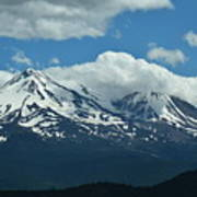 Clouds Over Mt Shasta Poster