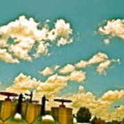Clouds Over Oil Field Equipent Poster
