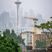 Cloudy And Foggy Day With Seattle Skyline Poster