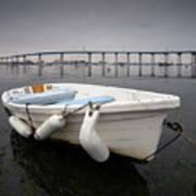 Cloudy Coronado Island Boat Poster