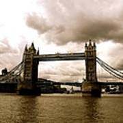 Cloudy Over Tower Bridge Poster