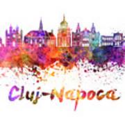 Cluj-napoca Skyline In Watercolor Splatter Poster