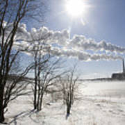 Coal Fired Power Plant In Winter Poster