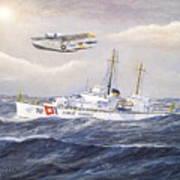 Coast Guard Cutter Pontchartrain And Coast Guard Aircraft  Poster