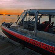 Coast Guard Response Boat At Sunset Poster