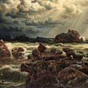 Coastal Landscape With Ships On The Horizon Poster