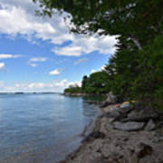 Coastal Maine's Rocky Shore On A Beautiful Summer Day Poster