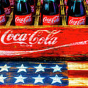 Coca Cola And Wooden American Flag Poster