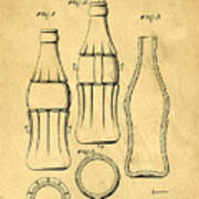 Coca Cola Bottle Patent Art 1937 Blueprint Drawing Poster