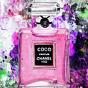 Coco Chanel Parfume Pink Poster