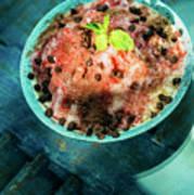 Coconut Milk Sorbet With Strawberry Sauce Vanilla Ice Cream Poster